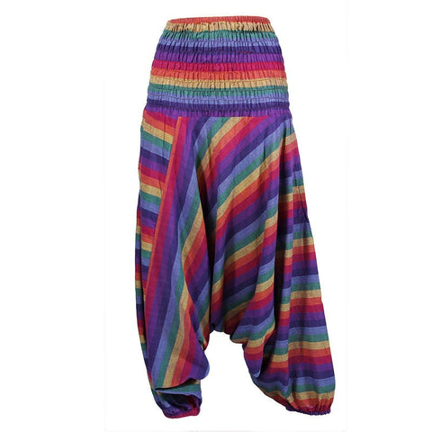 Gringo Striped Rainbow Harem - Drop Crotch