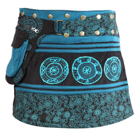 Embroidered Corduroy Mini Popper Skirt