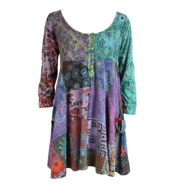 Long Sleeve Patchwork Smock Dress