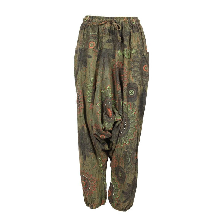 Floral Jogger Drop Crotch Harem Pants