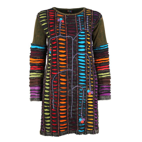 Rainbow Ripped Cotton Dress