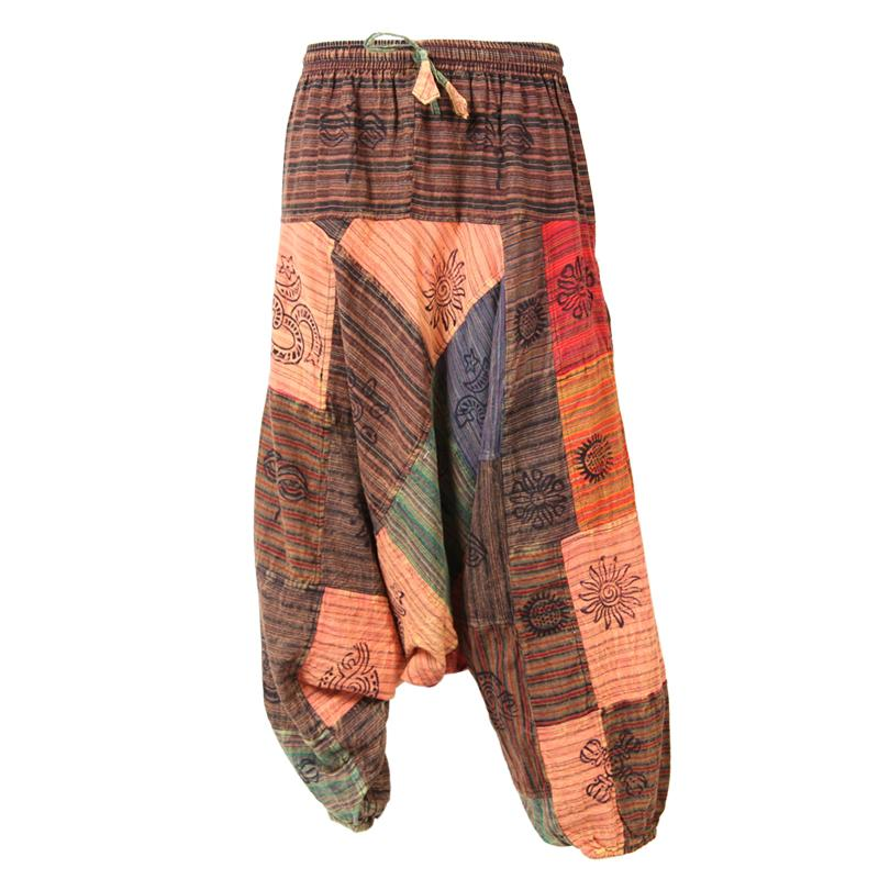 Afghani Drop Crotch Patchwork Harem Pants
