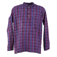 Oversized Madras Check Collarless Shirt