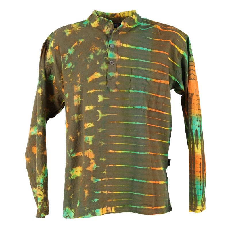 Green Shibori Tie Dye Collarless Shirt