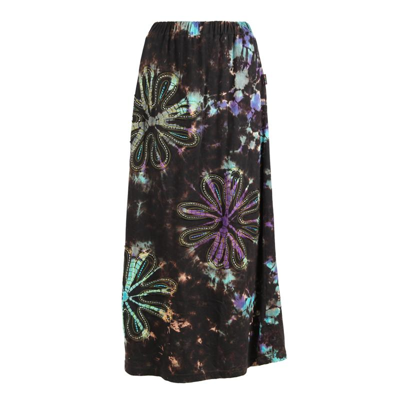 Tie Dye Flower Embroidered Maxi Skirt