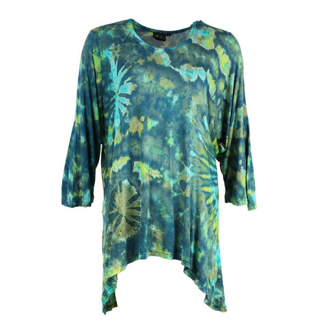High Low Hem Tie Dye Batwing Dress