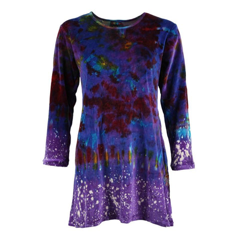 Velvet Tie Dye A-line Mini Dress