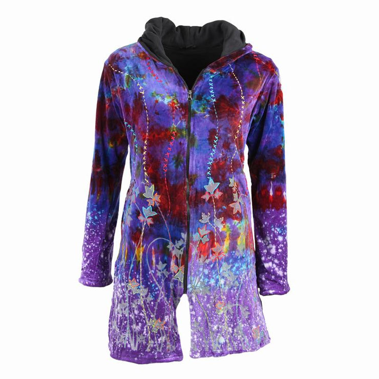 Purple Tie Dyed Velvet Coat