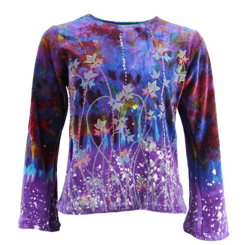 Velvet Tie Dye Long Sleeve Top