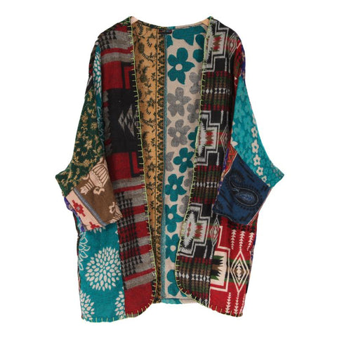 Patchwork Blanket Waterfall Cardigan