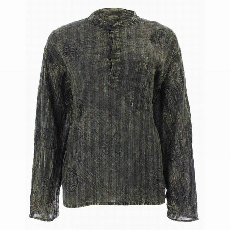 Grandad Collarless Stonewashed Shirt