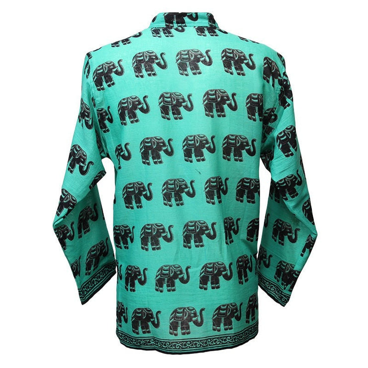 Elephant Printed Collarless Shirt