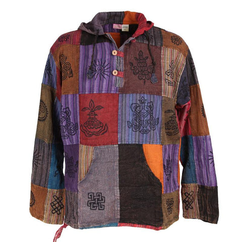 Hand Painted Lightweight Patchwork Hoodie