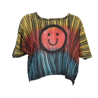 Cropped Smiley Batwing Tee