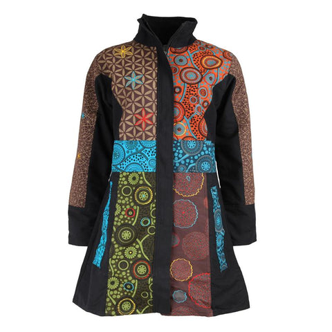 Mandala Funnel Neck Coat