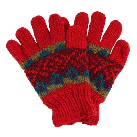 Woollen Red Patterned Gloves