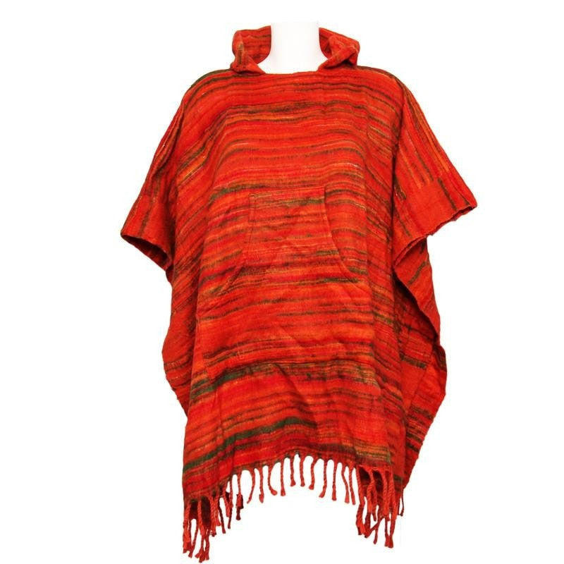 Warm Indian Hooded Poncho Orange