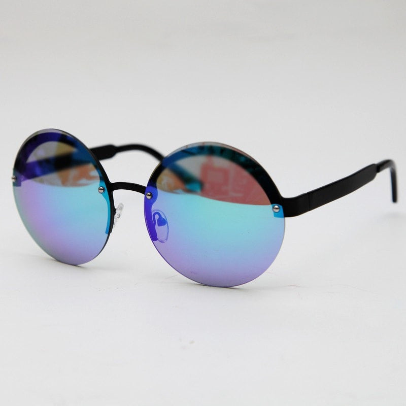Oversized Rimless Round Sunglasses