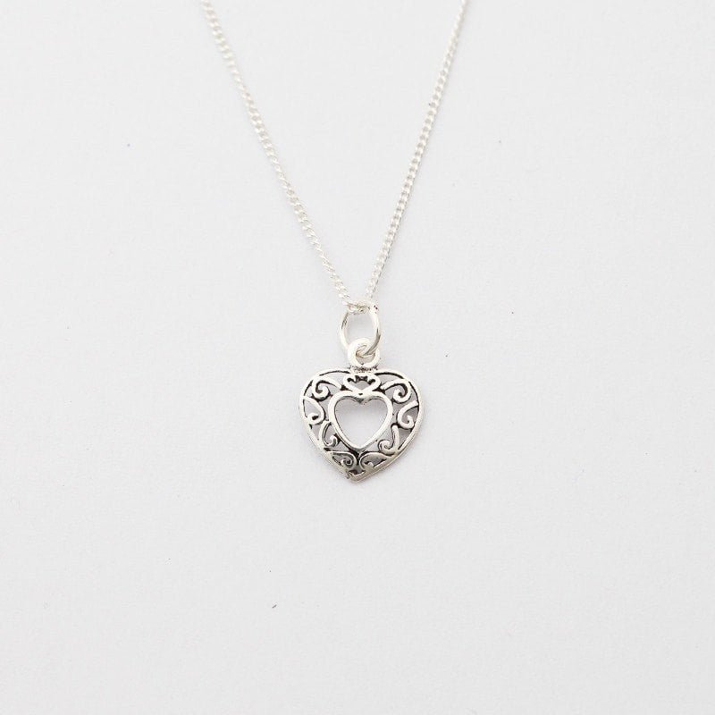 Filigree Silver Heart Necklace