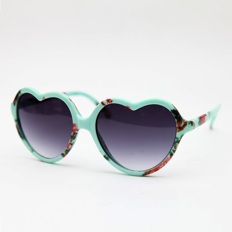 Flower Print Heart Sunglasses