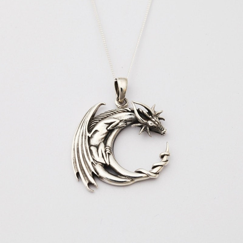Curled Dragon Silver Necklace