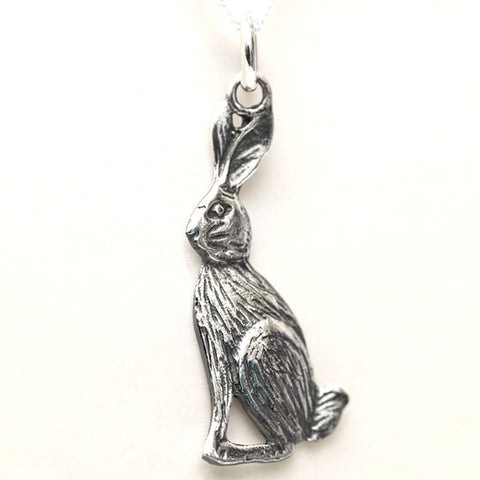 sterling silver hare necklace