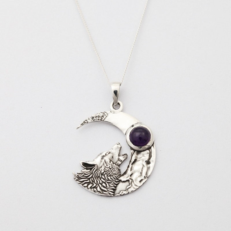 Wolf & The Moon With Amethyst Necklace