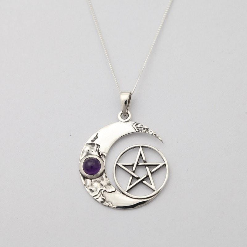Pentagram Moon & Amethyst Necklace