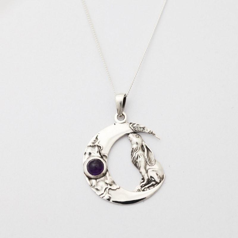 Moon Gazing Hare & Amethyst Necklace