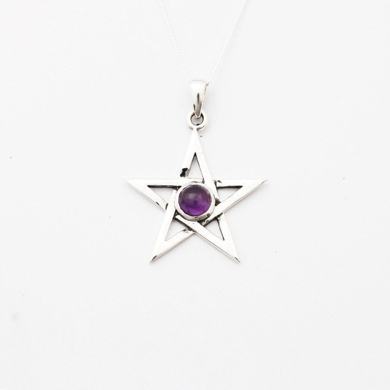 Pentagram with Amethyst Necklace