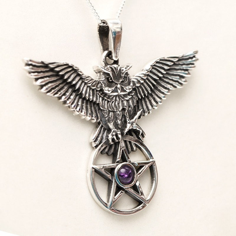 Owl And Pentagram With Amethyst Cabochon