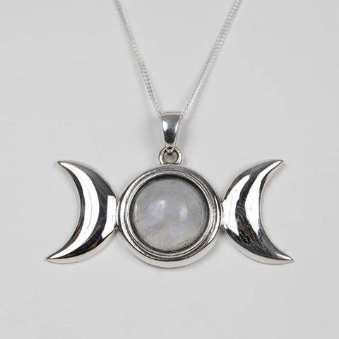 925 Silver Triple Moon Pendant With Moonstone