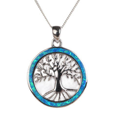 Silver Tree Of Life Fire Opal Pendant