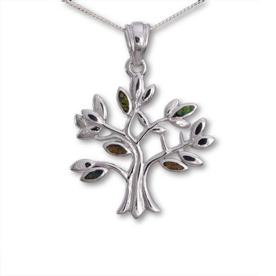 Tree Of Life Fire Opal Pendant