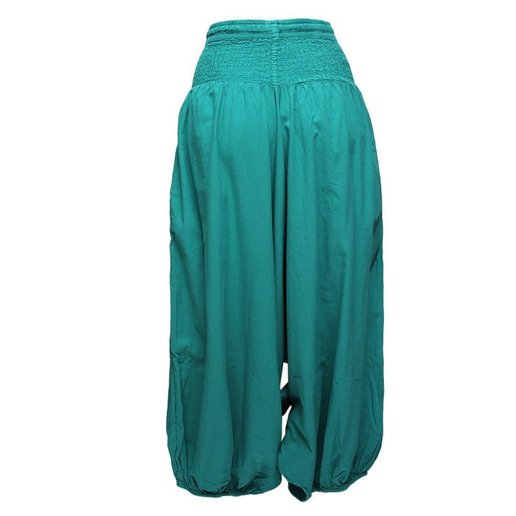 very low drop crotch baggy harem pants in teal