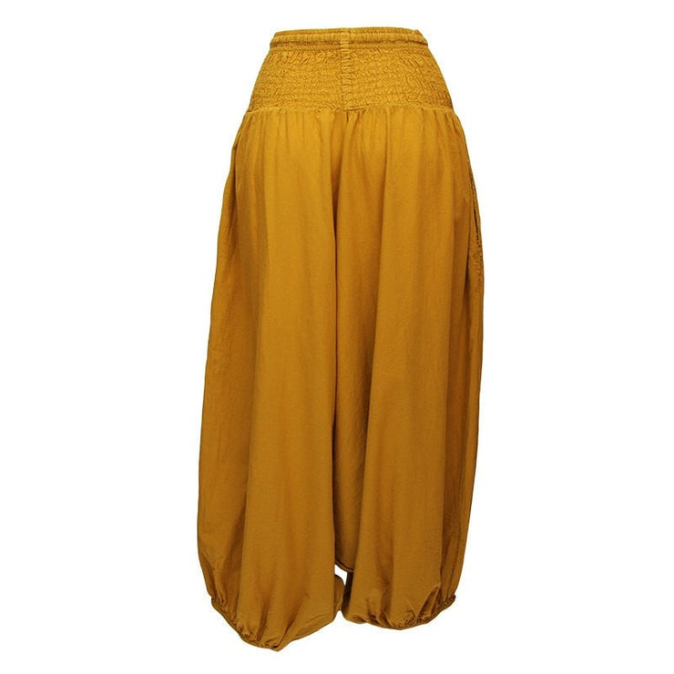 very low drop crotch baggy harem pants in dark yellow