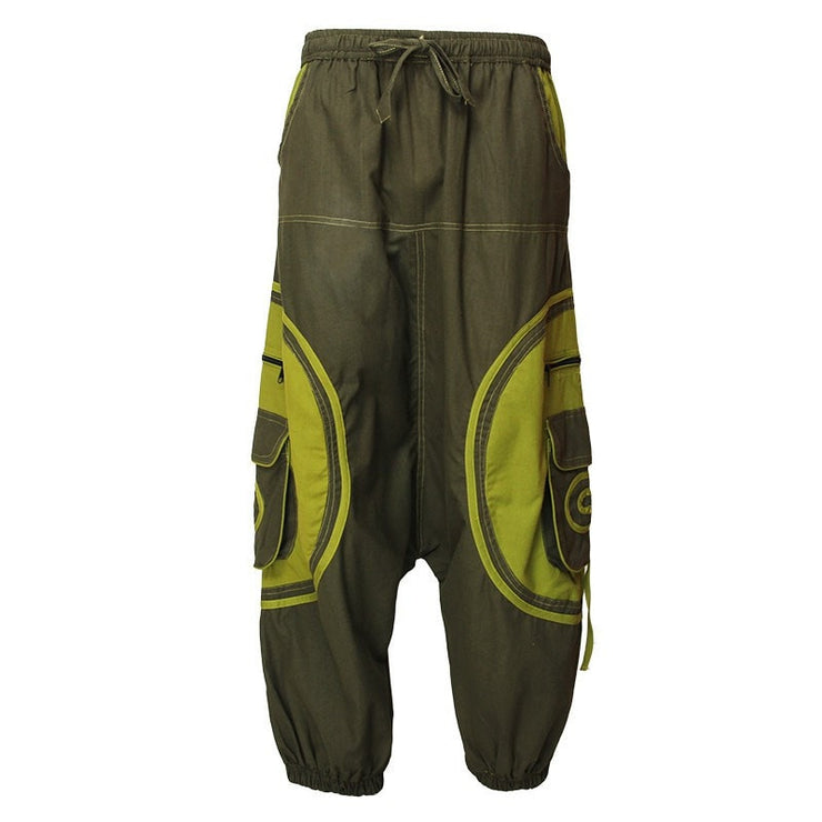 Harem Trousers Drop Crotch Spiral pattern pocket - Green, Front view