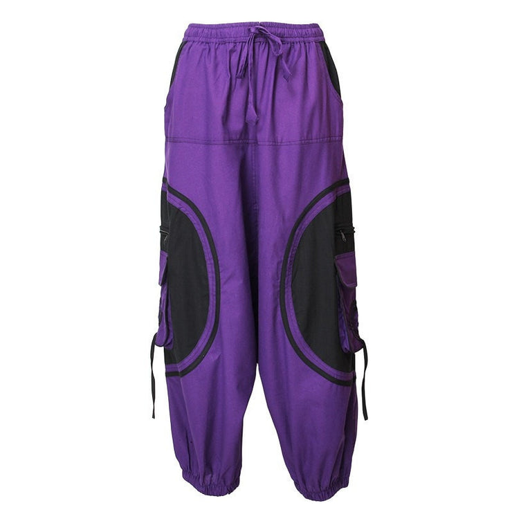 Harem Trousers Drop Crotch Spiral pattern pocket - Purple, Front
