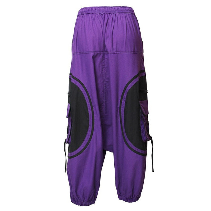 Harem Trousers Drop Crotch Spiral pattern pocket - Purple, Back view