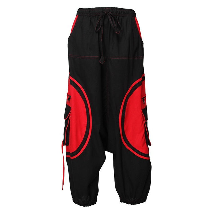 Harem Trousers Drop Crotch Spiral pattern pocket - Red/Black, Front view