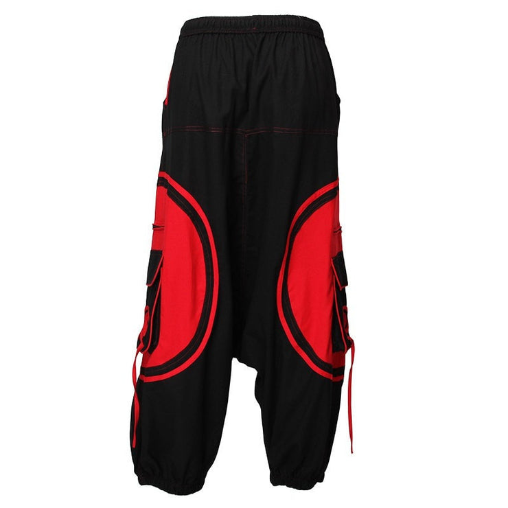 Harem Trousers Drop Crotch Spiral pattern pocket - Red/Black, Back view