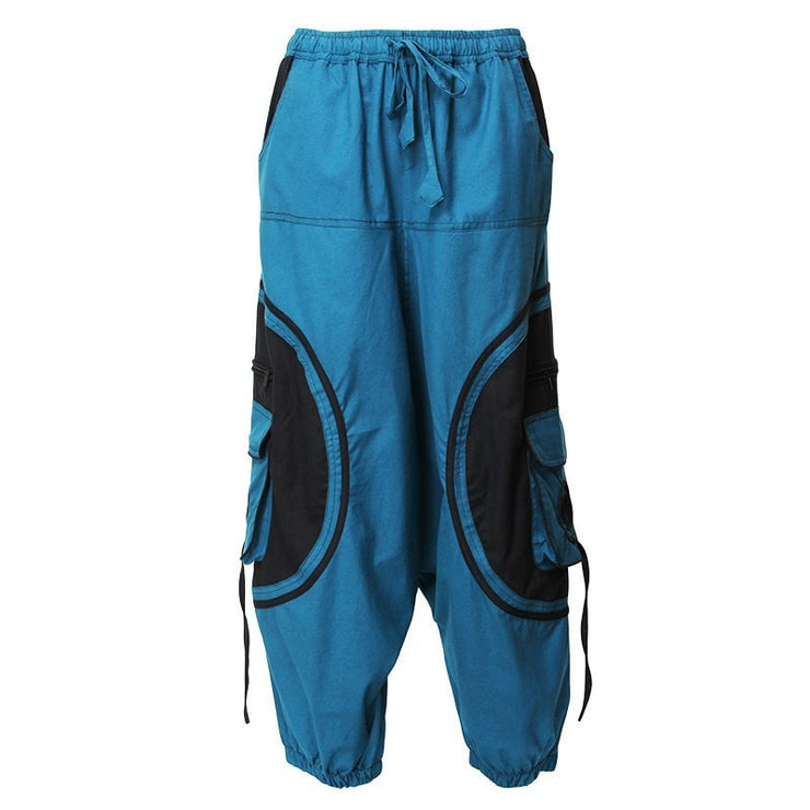 Harem Trousers Drop Crotch Spiral pattern pocket - Turquoise, Front view