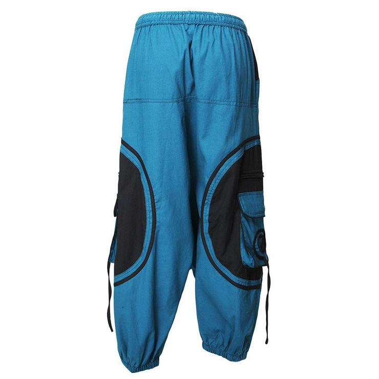 Harem Trousers Drop Crotch Spiral pattern pocket - Turquoise, Back View