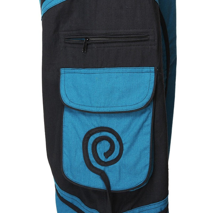 Harem Trousers Drop Crotch Spiral pattern pocket - Turquoise, close up of spiral pocket