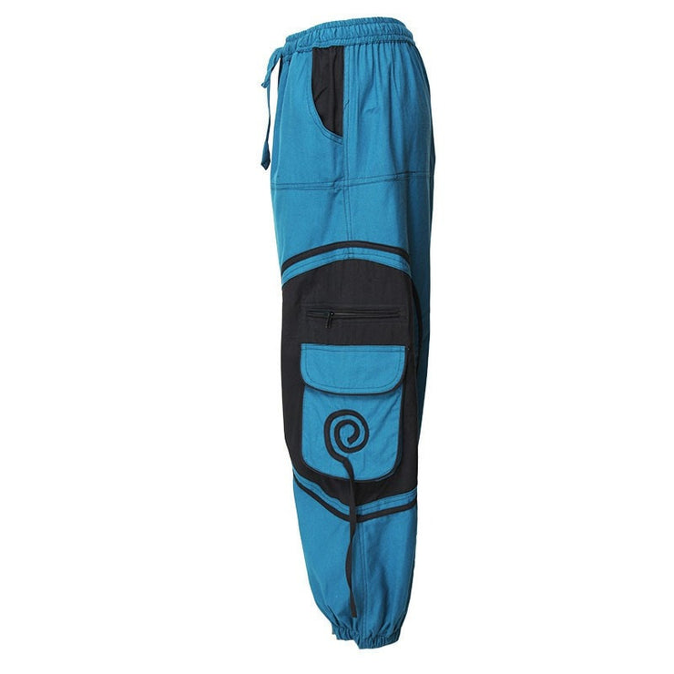 Harem Trousers Drop Crotch Spiral pattern pocket - Turquoise, Side view