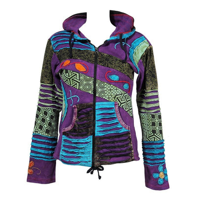 Purple zip up hoodie stonewashed purple, printed green and blue and black ripped patchwork with a pixie hood