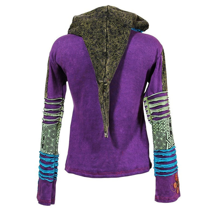 Purple zip up hoodie stonewashed purple, printed green and blue and black ripped patchwork with a pixie hood - Back view