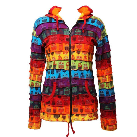 Rainbow Owl Print Hooded Top