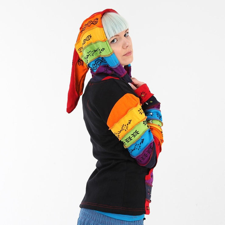 Painted Rainbow Ribbed Hoodie