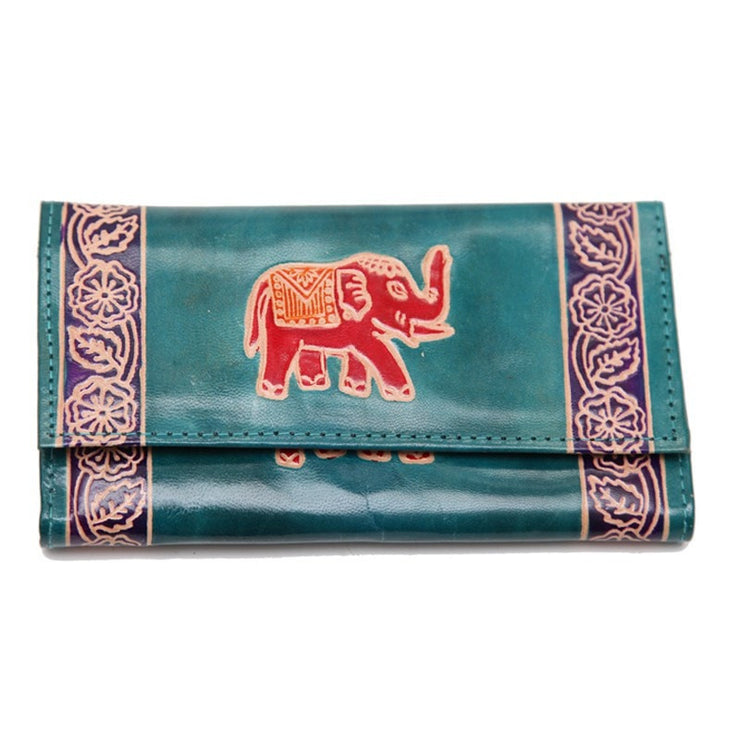 Embossed Leather Elephant Purse